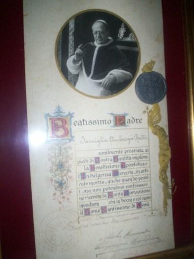 Benedizione particolare di papa Pio XI alla famiglia Ratti, papa Ratti, Fascismo