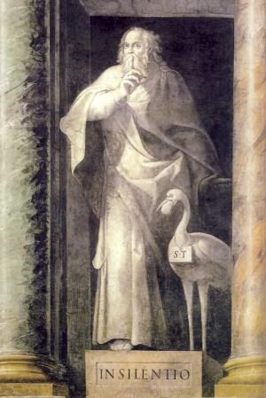 Le forme del silenzio e della parola, Il silenzio e la parola da Eckhart a Jab, Silvano Zucal, Silenzio di Dio, silenzio dell'uomo, Massimo Baldini, Elogio del silenzio e della parola, I guardiani della voce, Roberto Mancini, Laura del prà, arpocrate, ermete trismegisto, figura del silenzio, allegoria del silenzio, arte del silenzio, figurazione del silenzio, tacere, virtù del silenzio, san pietro martire ingiunge di tacere, arte silenzio, arte tacere, silenzio, storia del silenzio, De Iside et Osiride, plutarco, epoché, silenzio e parola, rumore, signum arpocraticum, dio silenzio, Fussli, Giovanni da san Giovanni, Badia Fiesolana, Sala Vecchia degli Svizzeri, Ermes, Corpus Hermeticus, Sala da pranzo degli Anziani, Marsilio Ficino, Pico della Mirandola, ritratto dell'arcobaleno, vincenzo cartari, Cesare Ripa, Benozzo Gozzoli, pierio valeriano, Paris Nogari, Allegoria del silenzio vigile, 1582. Palazzi Vaticani, Sala Vecchia degli Svizzeri (foto Mancini, Op. cit.)