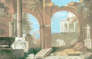 Marco Ricci (1676-1730), Capriccio architettonico con tempio