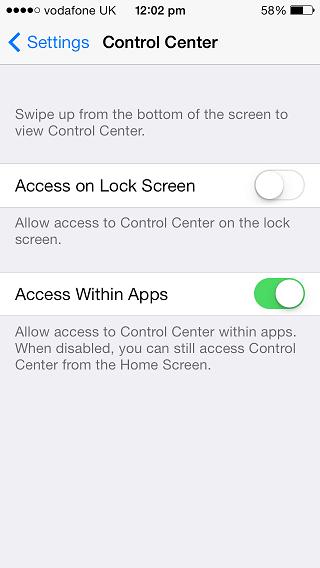 Control Center settings