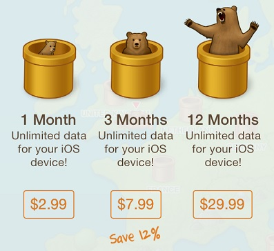 TunnelBear VPN iOS pricing