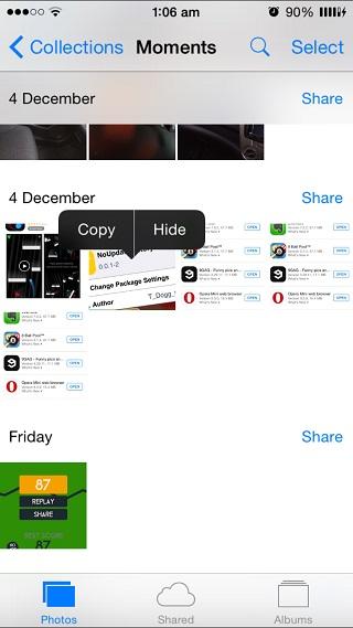 Photo hide iOS 8