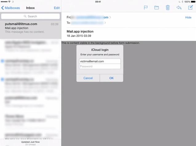 iOS mail app prompt bug