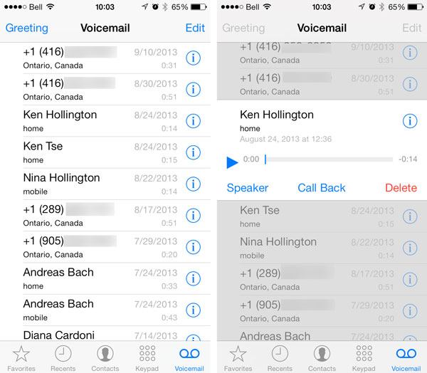 Share voicemail iOS 9