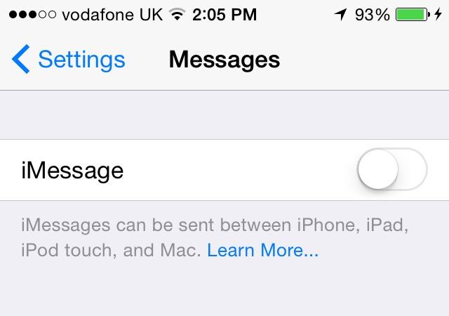 iMessage turn off