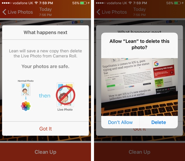 Lean - Clean up your live photos app copy