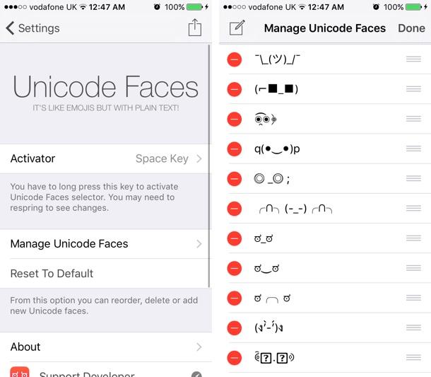 Unicode Faces tweak