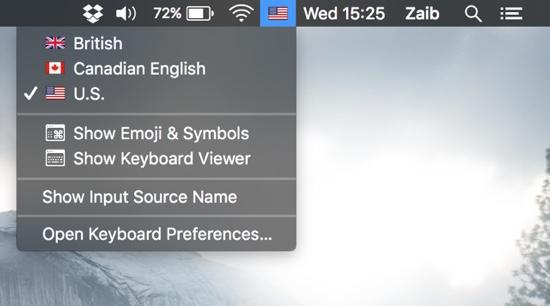 Apple menu flags