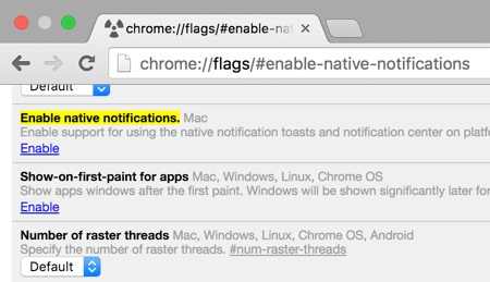 Enable native chrome notifications