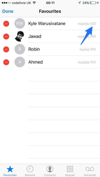 Phone Favorites edit