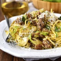 20 Minute Sausage, Brussels Sprouts and Parmesan Pasta