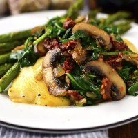 Mushroom, Spinach and Sun Dried Tomato Cheesy Chicken Skillet