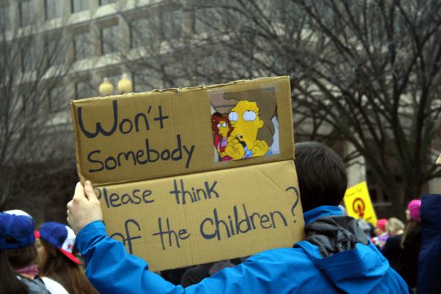 Won't somebody please think of the children at the Women's March Saturday. Photo: Gavin Aronsen/Iowa Informer