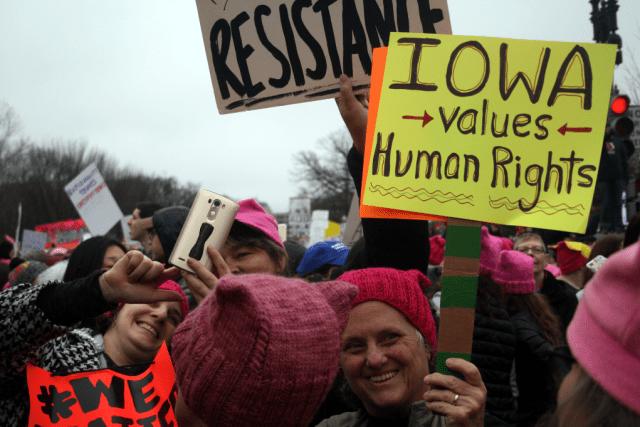 At the Women's March. Photo: Gavin Aronsen/Iowa Informer