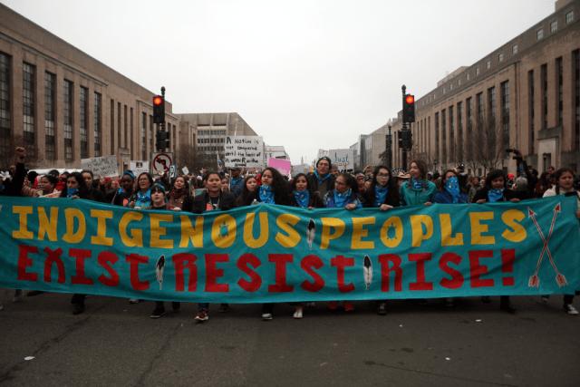 Indigenous women march in downtown DC Saturday. Photo: Gavin Aronsen/Iowa Informer