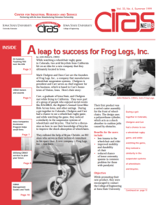 An Iowa State University newsletter from 1999 describing the university's role in Chelgren's Frog Legs invention.