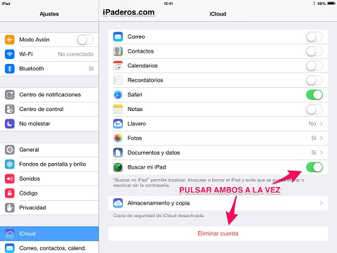 Bug ios 7 buscar mi iPad 1