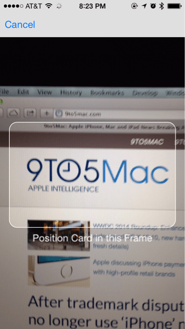 safari ios 8 tarjeta de crédito escanear scan 2