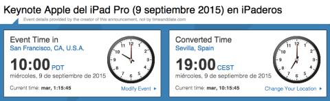 hora exacta españa keynote septiembre 2015 apple