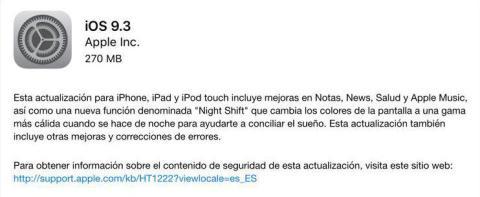 iOS 9.3 instalación