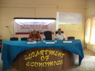 Dr. N. Devadasan speaking at the UGC sponsored seminar on Public Health Challenges in the 21st Century at Kerala University, Trivandrum, Kerala