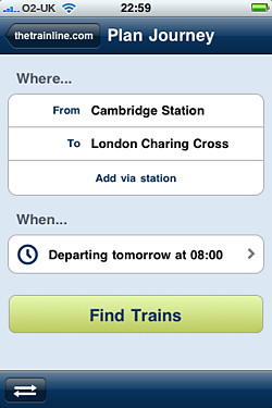 Trainline app journey planner tool -screenshot