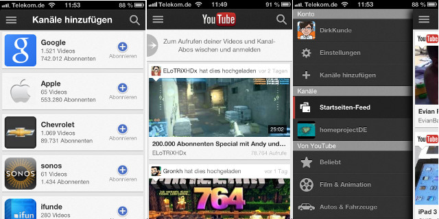 App YouTube iPhone