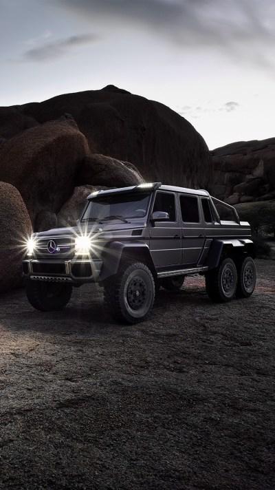 Mercedes-Benz-G63-AMG-6x6-in-Desert-Canyon-Rocks-iPhone-Wallpaper - iPhone Wallpapers