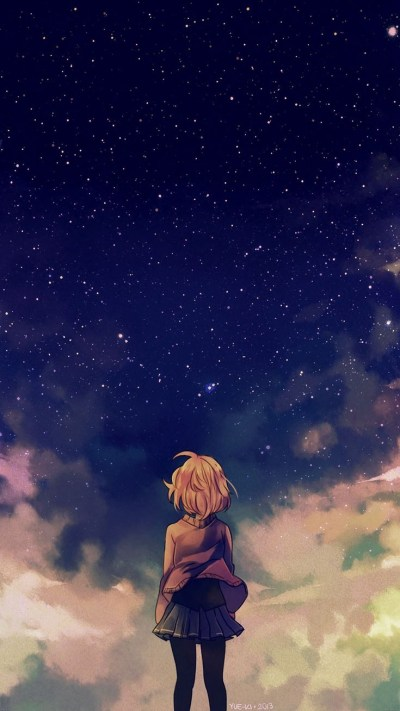 Anime-Girl-under-Sky-Beautiful-Stars-iPhone-Wallpaper - iPhone Wallpapers