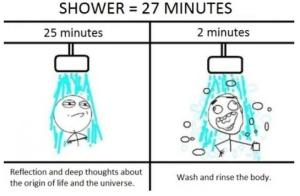 Shower=27 minutes, deep reflection
