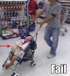 Parenting fail-stroller shopping cart