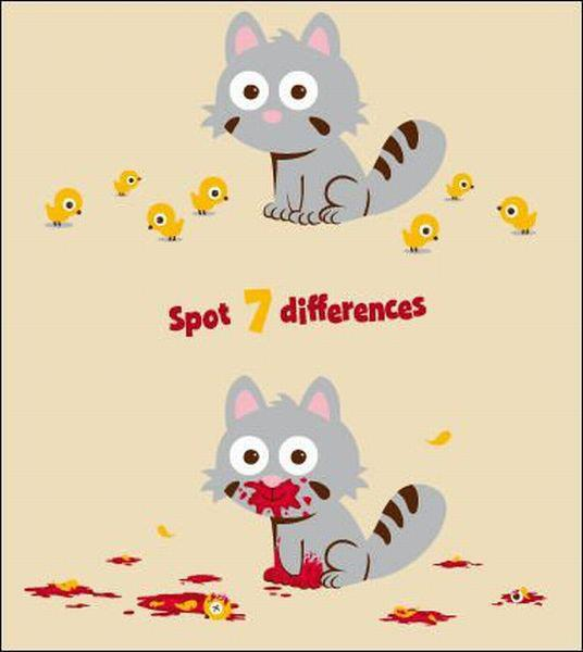 Spot 7 differences - cat eating birds