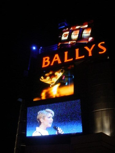 Celine Dion Opening Night at Caesars, Broadcast on Bally's Sign, Las Vegas, Nevada
