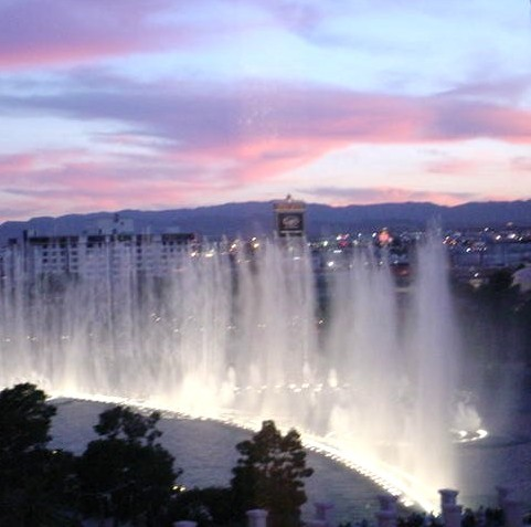 Sunset View of Bellagio Fountain Barbary Coast, Las Vegas, Nevada