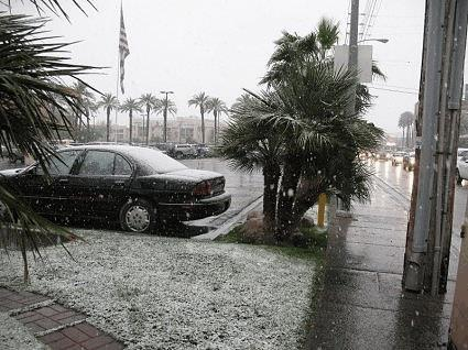 Snow in Terribles parking lot Las Vegas