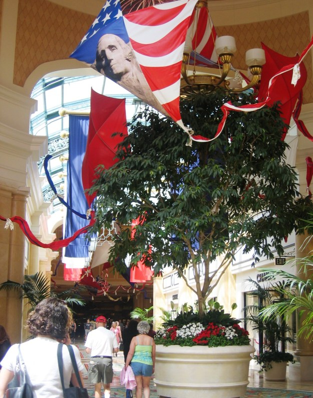 Bellagio conservatory Las Vegas American flag