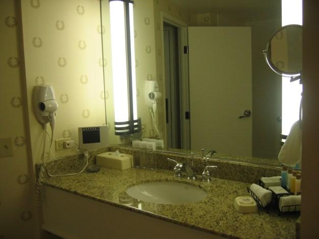 Caesars Las Vegas room bathroom counter