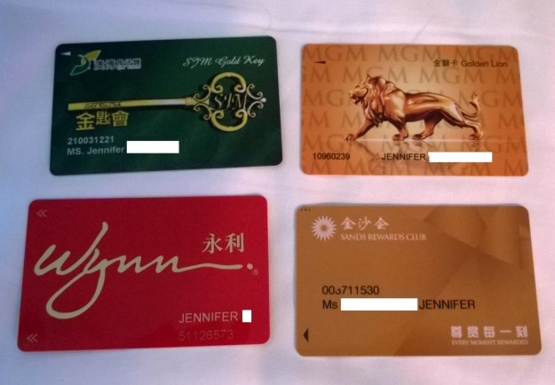 Macau Player's cards