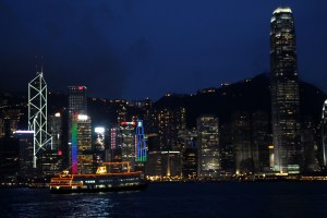 Victoria Harbor night Hong Kong China