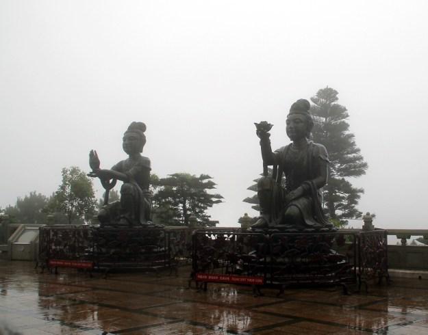 Tian Tan Buddha Devas in rain