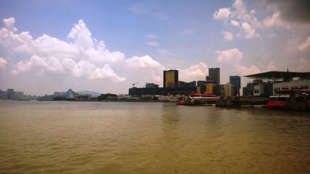 view of sands from macau ferry to shenzhen china