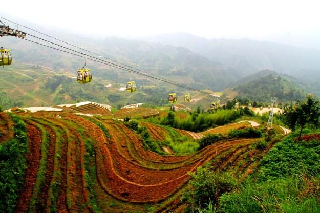 Dragon's Backbone Rice Terraces, Longsheng China cable cars