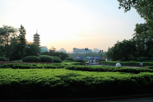 park around sun and moon pagodas