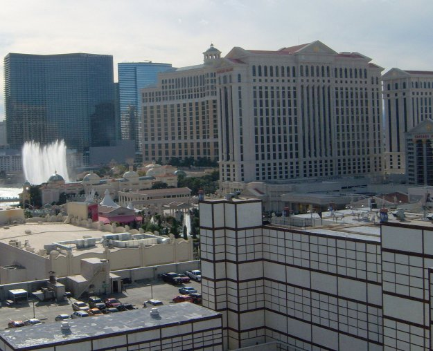 view bellagio fountains from Imperial Palace Balcony las vegas