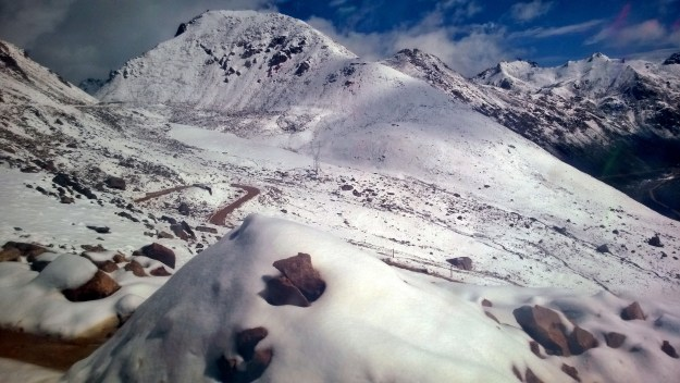snow on chola pass between ganzi and dege tibet china