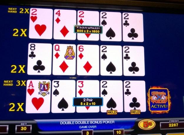 ultimate x video poker quad twos x 2