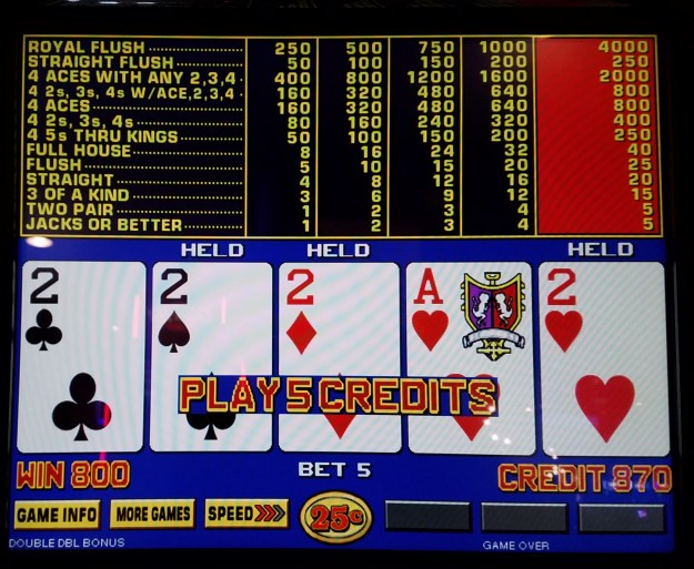 quarter twos with kicker video poker fremont casino las vegas