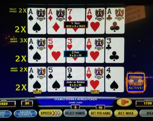 ultimate x double double bonus video poker aces x 2 cromwell las vegas