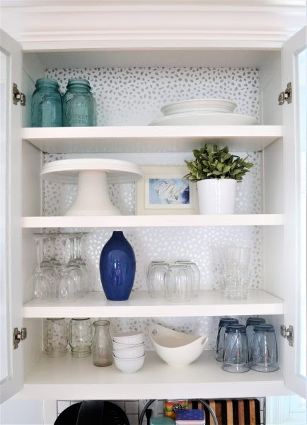 How to Add Wallpaper to Kitchen Cabinets   DIYIdeaCenter.com