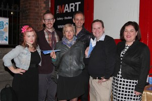 At the exhibition opening. L->R: Ciara Scanlan, Matthew Nevin, Nina Fischer, Maroan el Sani, Barry Kehoe, Katharine Maurer.